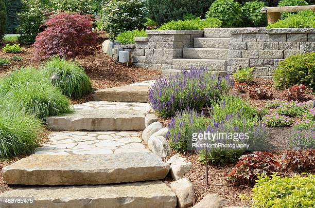 professional landscaping - pedestrian walkway stock pictures, royalty-free photos & images