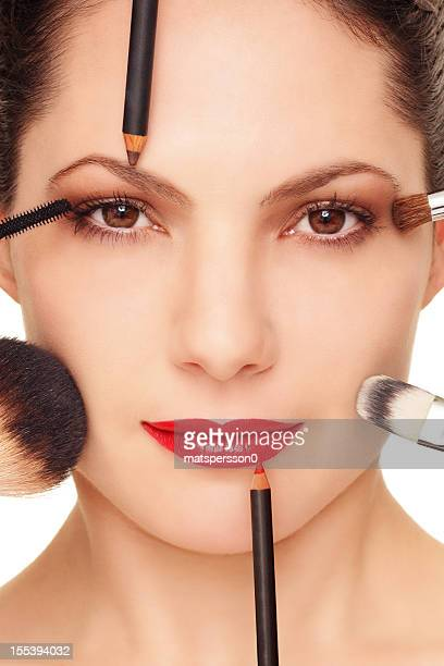 professional make up on a beautiful woman - lip liner stock photos and pictures