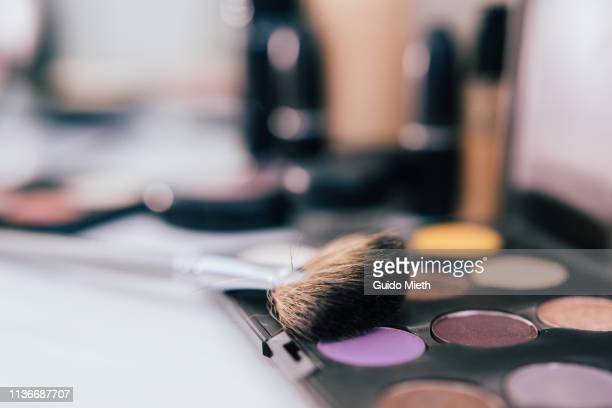 Professional makeup brushe and colours.