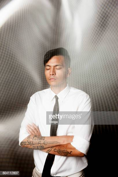 Professional man with abstract grid