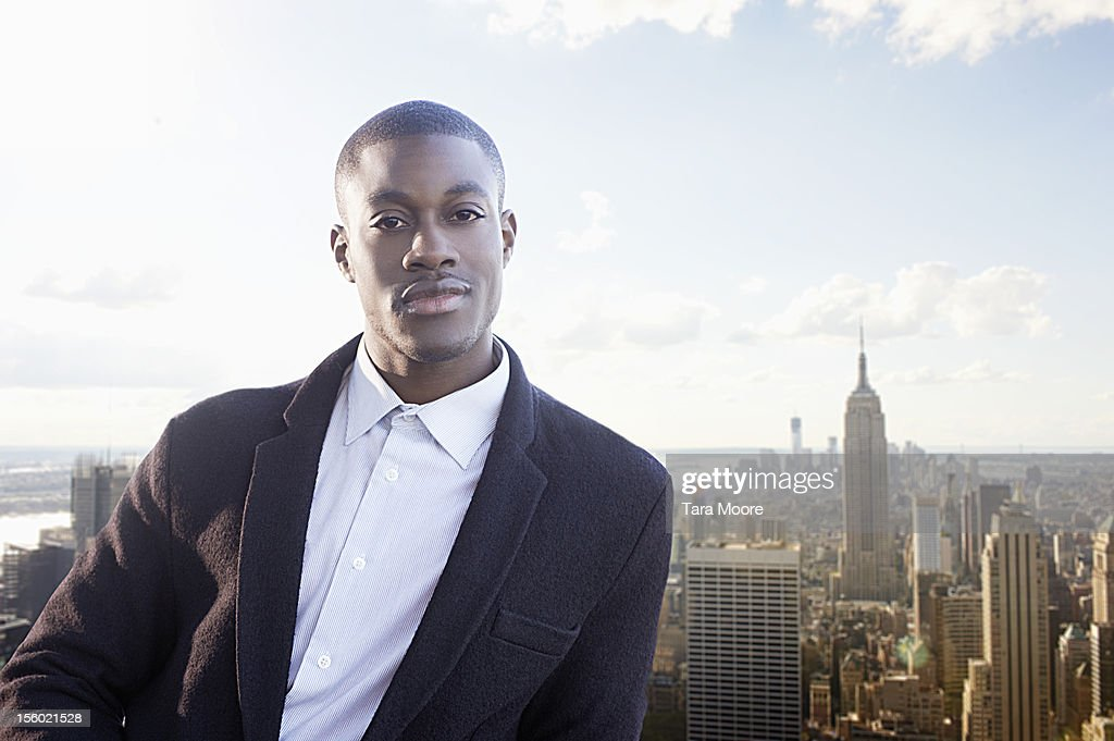 professional man with city skyline : Bildbanksbilder
