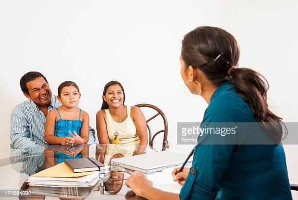 Professional meeting with a family