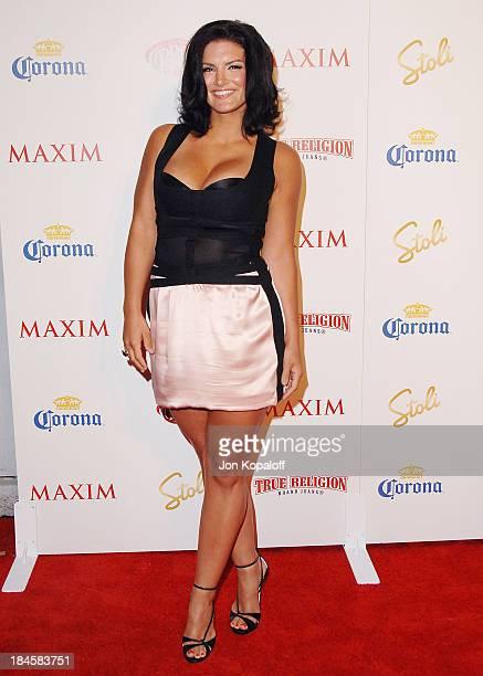 Professional Mixed Martial Arts fighter Gina Carano arrives at Maxim's 2009 Hot 100 Party at Barker Hangar on May 13, 2009 in Santa Monica,...