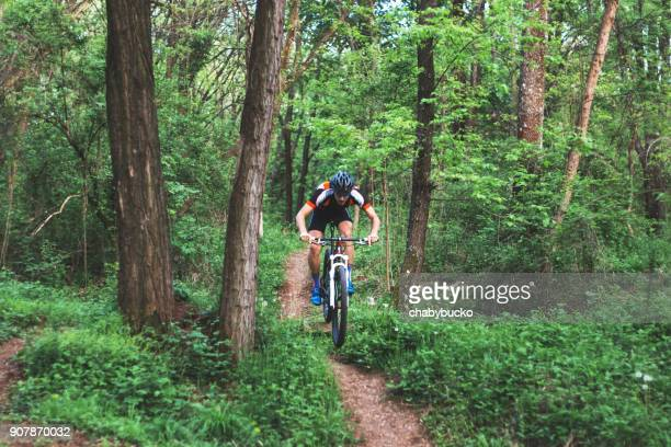 Professional mountain biker on track
