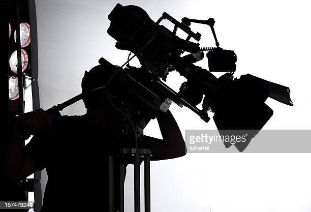professional movie set with camera and operator - filmen stockfoto's en -beelden