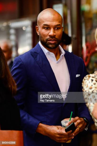 Professional NBA basketball coach and player Derek Fisher enters Planet Hollywood Times Square on September 06 2017 in New York City