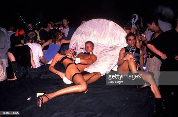 Professional nightclub dancers at Privelege nightclub in Ibiza