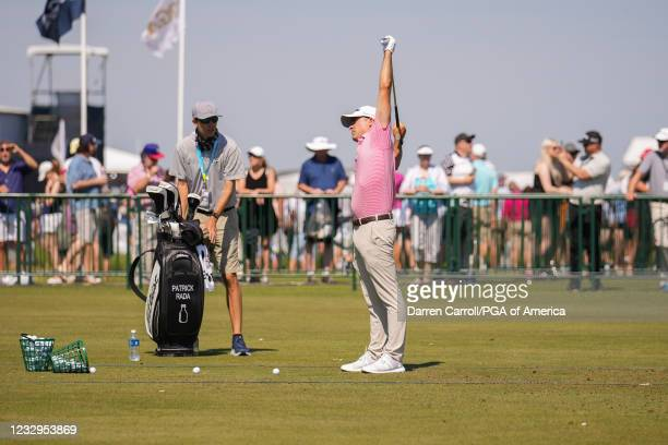 Professional, Patrick Rada stretches during a practice round for the 2021 PGA Championship held at the Ocean Course on May 17, 2021 in Kiawah Island,...