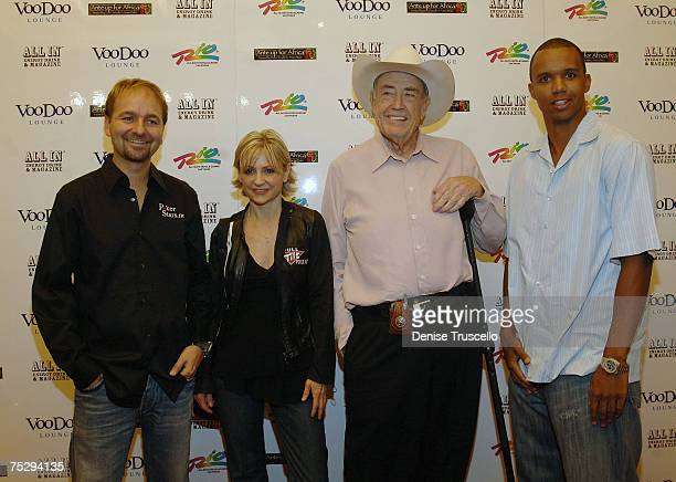 Professional Poker Players Chris Ferguson Jennifer Harman Doyle Brunson and Phil Ivy arrive at the Ante up for Africa poker tournement during the...