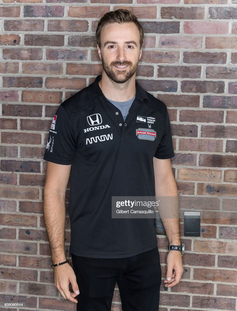 Professional race car driver James Hinchcliffe - #5 of Schmidt Peterson Motorsports visits Fox 29's 'Good Day' at FOX 29 Studio on August 18, 2017 in Philadelphia, Pennsylvania.