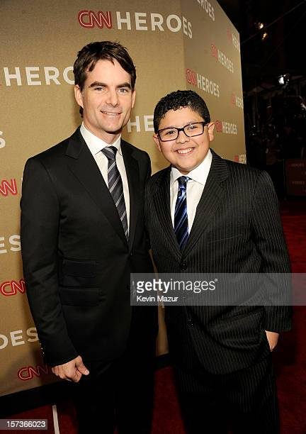 Professional race car driver Jeff Gordon and actor Rico Rodriguez attend the CNN Heroes An All Star Tribute at The Shrine Auditorium on December 2...