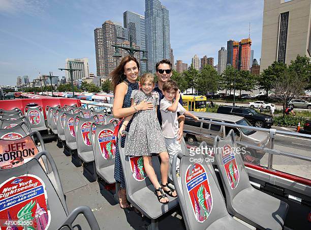 Professional race car driver Jeff Gordon wife Ingrid Vandebosch and children Ella Gordon and Leo Gordon attend as 'Ride Of Fame' honors Jeff Gordon...