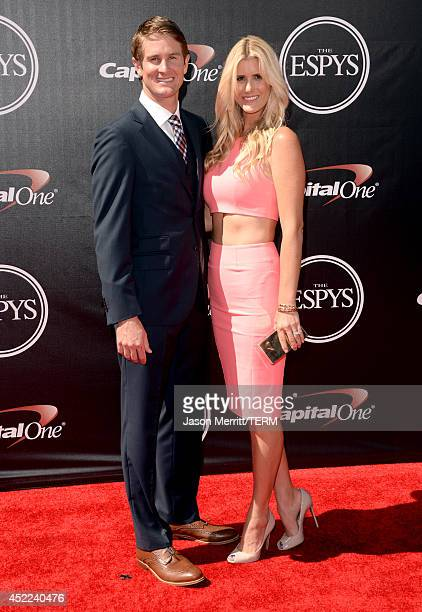 Professional race car driver Ryan HunterReay and model Beccy Gordon attend The 2014 ESPYS at Nokia Theatre LA Live on July 16 2014 in Los Angeles...