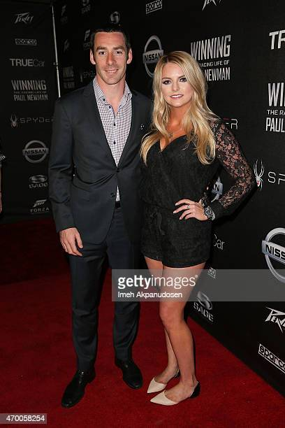 Professional racing driver Simon Pagenaud and Hailey McDermott attend the charity screening of 'WINNING The Racing Life Of Paul Newman' at the El...