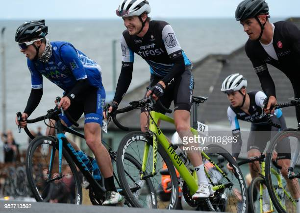 Professional riders attack the hill in Saltburn as they complete their final circuit of the East Cleveland Klondike Grand Prix cycling race on April...