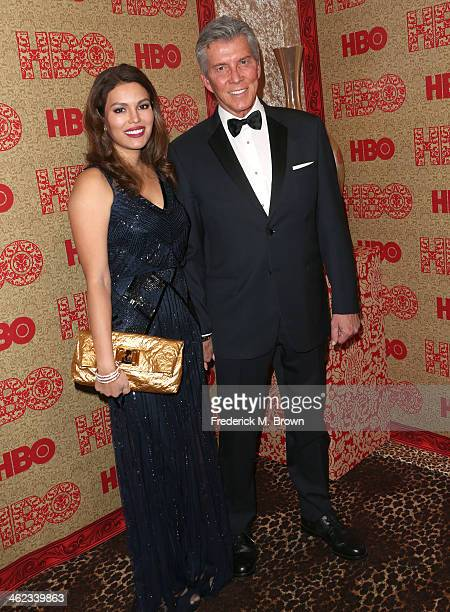 Professional ring announcer Michael Buffer and Christine Buffer attend HBO's Post 2014 Golden Globe Awards Party held at Circa 55 Restaurant on...