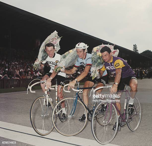Professional road racing cyclists from left French cyclist Roger Pingeon of the Peugeot BP Michelin team Italian cyclist Felice Gimondi of the...