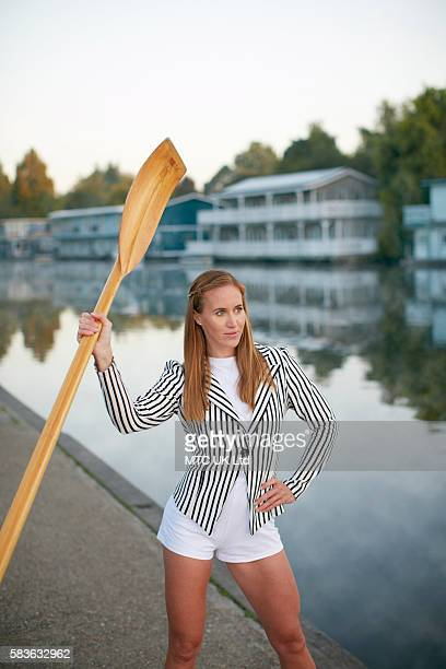 Professional rower and a member of the Great Britain Rowing Team Helen Glover is photographed on September 29 2015 in East Molesey England