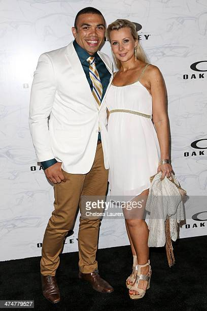 Professional rugby player Bryan Habana and wife Janine Habana arrive at Oakley's Disruptive by Design at Red Studios on February 24 2014 in Los...