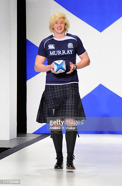 Professional rugby player Richie Gray walks the runway at the 9th Annual Dressed To Kilt charity fashion show at Hammerstein Ballroom on April 5 2011...