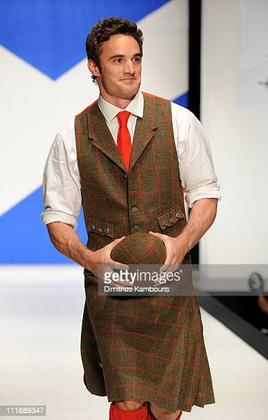 Professional rugby player Thom Evans walks the runway at the 9th annual Dressed to Kilt charity fashion show at the Hammerstein Ballroom on April 5...