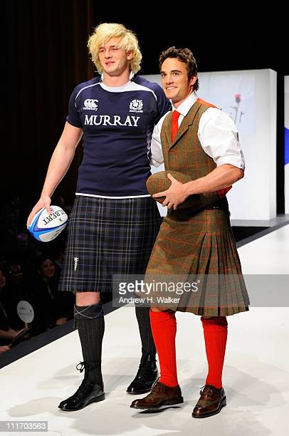 Professional rugby players Richie Gray and Thom Evans walk the runway at the 9th Annual Dressed To Kilt charity fashion show at Hammerstein Ballroom...