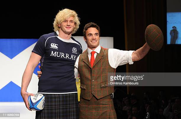 Professional rugby players Richie Gray and Thom Evans walks the runway at the 9th annual Dressed to Kilt charity fashion show at the Hammerstein...