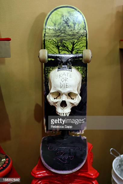 Professional skateboarder Jamie Thomas's artwork Skate or Die at Sephora VIB Holiday Cocktail Party Hosted By Kat Von D at Kat Von D's Wonderland...
