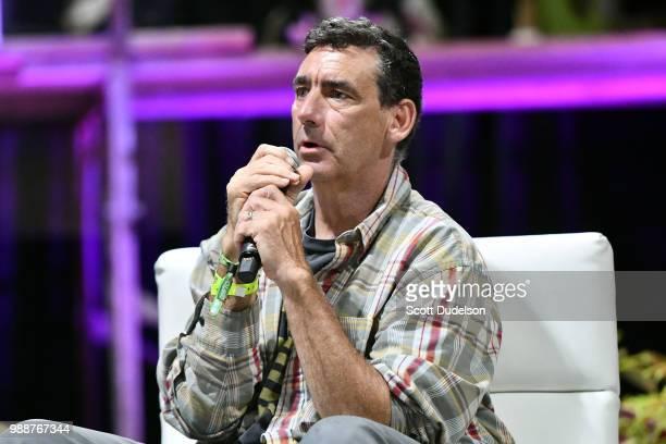 Professional skateboarder Lance Mountain speaks on a panel during the Agenda Festival on June 30 2018 in Long Beach California