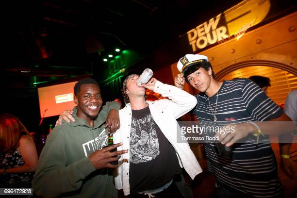 Professional skateboarder Reemo Pearson Brendan Foster and Nick Tucker attend the Long Beach Dew Tour Media Event at Long Beach Convention Center on...