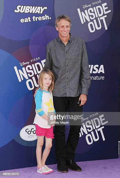 Professional skateboarder Tony Hawk and daughter Kadence Clover Hawk arrive at the Los Angeles premiere of Disney/Pixar's 'Inside Out' at the El...