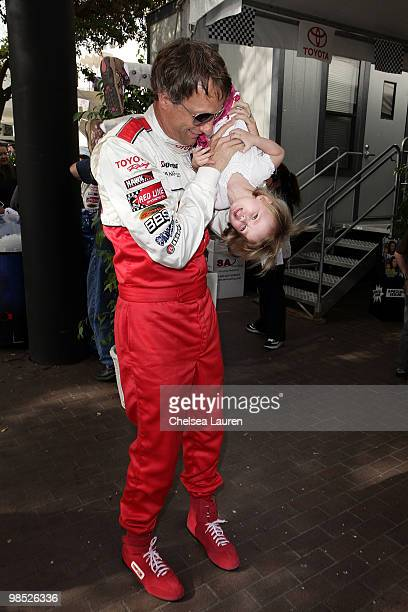 Professional skateboarder Tony Hawk and daughter Kadence Clover Hawk attend the Toyota Grand Prix Pro / Celebrity Race Day on April 17 2010 in Long...