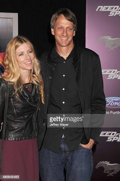 Professional skateboarder Tony Hawk and guest arrive at the Los Angeles premiere of 'Need For Speed' at TCL Chinese Theatre on March 6 2014 in...