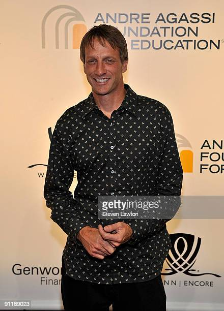 Professional skateboarder Tony Hawk arrives at the 14th annual Andre Agassi Charitable Foundation's Grand Slam for Children benefit concert at the...