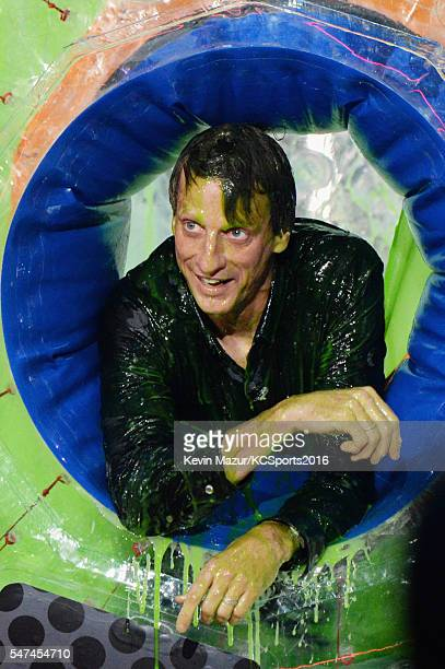 Professional skateboarder Tony Hawk is seen onstage during the Nickelodeon Kids' Choice Sports Awards 2016 at UCLA's Pauley Pavilion on July 14 2016...
