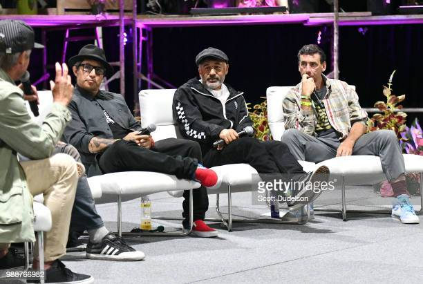 Professional skateboarders Christian Hosoi Steve Caballero and Lance Mountain speak on a panel during the Agenda Festival on June 30 2018 in Long...