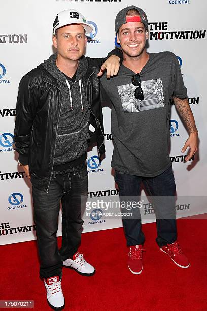 Professional skateboarders Rob Dyrdek and Ryan Sheckler attend the premiere of 'The Motivation' at ArcLight Hollywood on July 30 2013 in Hollywood...