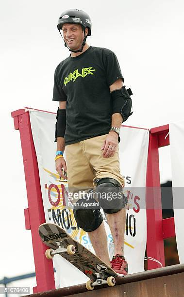 Professional skateboarding legend Tony Hawk participates in a skateboarding demonstration to promote his new radio show Tony Hawk's Demolition Radio...