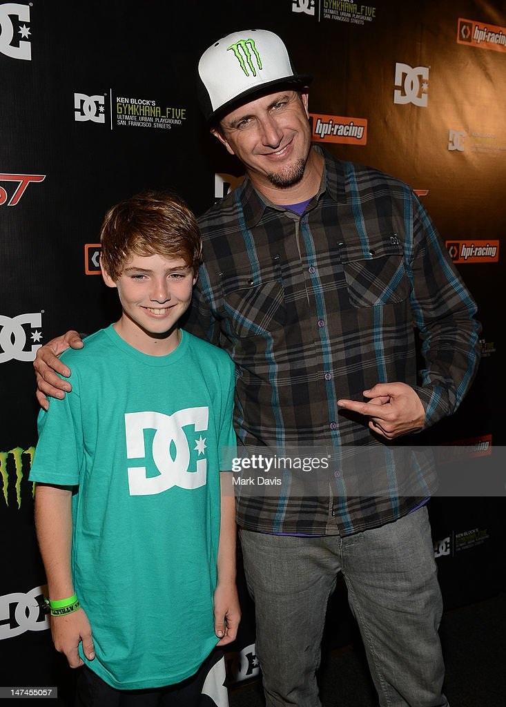 Professional skateborder Tom Schaar (L) and professional rally driver Ken Block attend the premiere Of The Gymkhana FIVE held at the JW Marriot Mixing room at L.A. Live on June 29, 2012 in Los Angeles, California.