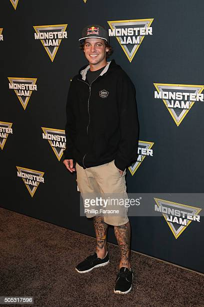 Professional Skaterboarder Ryan Sheckler attends Monster Jam at Angel Stadium of Anaheim on January 16 2016 in Anaheim California