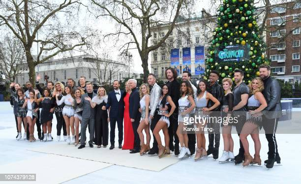 Professional Skaters and celebrity skaters attend a photocall for the new series of Dancing On Ice at Natural History Museum Ice Rink on December 18...