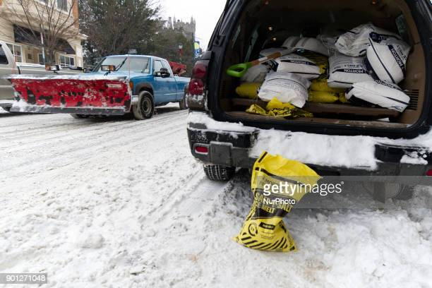 Professional snow removal crews work as the region feels the impact of the 'Bomb Cyclone' winter storm Grayson on January 4 in Philadelphia PA