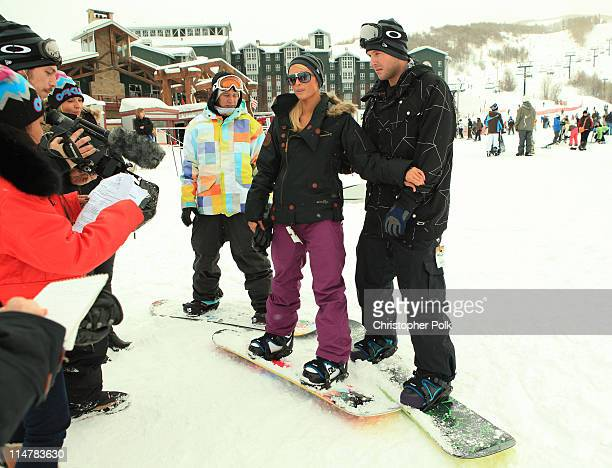 Professional snowboarder Heikki Sorsa Paris Hilton and Doug Reinhardt attend Oakley 'Learn To Ride' Snowboard fueled by Muscle Milk at Oakley Lodge...