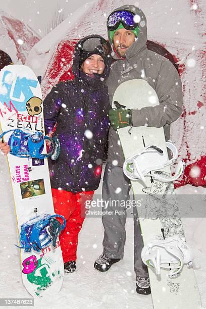 Professional snowboarder Kimmy Fasani and musician Jason Mraz at the Burton Lounge at Park City Mountain Resort on January 21 2012 in Park City Utah