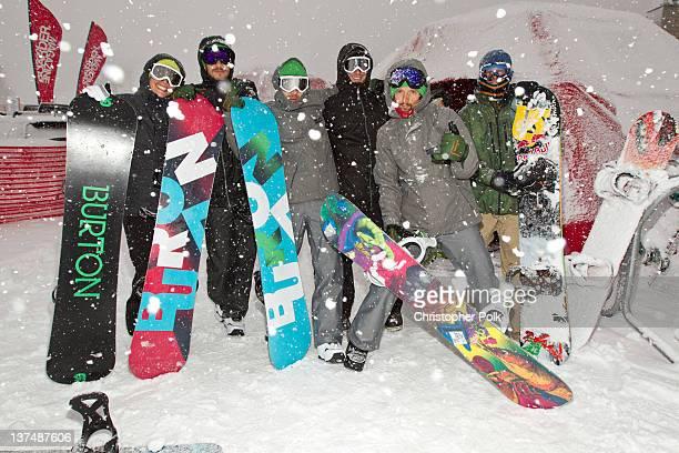 Professional snowboarder Kimmy Fasani musician Jason Mraz and professional snowboarder John Jackson at the Burton Lounge at Park City Mountain Resort...