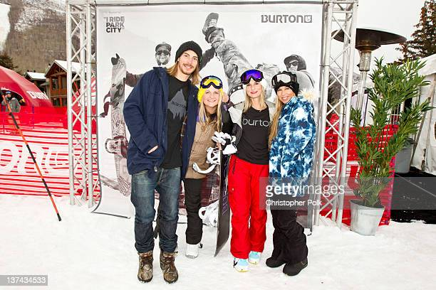 Professional snowboarder Mark Sollors Amanda Wormann Brenna Egan and AnneMarie Dacyshyn at the Burton Lounge at Park City Mountain Resort on January...