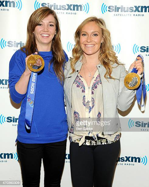 Professional snowboarders Kaitlyn Farrington and Jamie Anderson visit at SiriusXM Studios on February 19 2014 in New York City