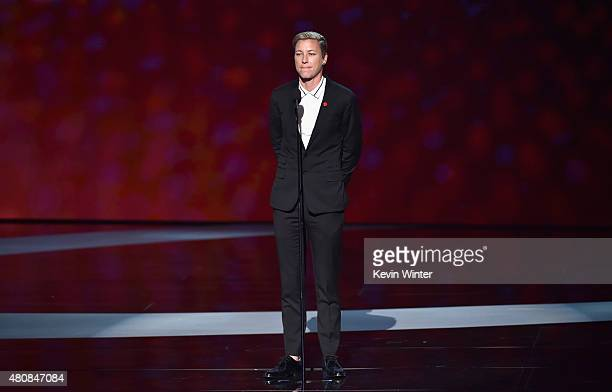 professional soccer player Abby Wambach speaks onstage during The 2015 ESPYS at Microsoft Theater on July 15 2015 in Los Angeles California