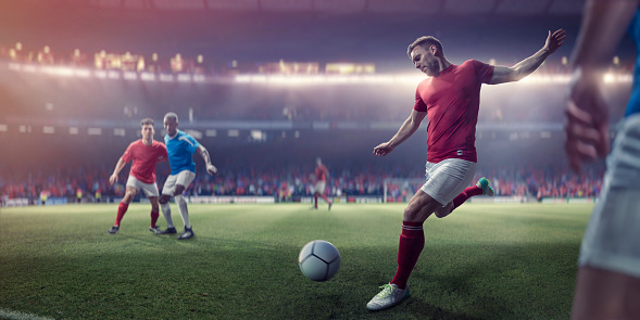 Professional Soccer Player About To Kick Football During Soccer Match 959257646