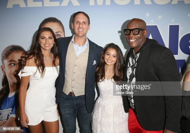 Professional soccer player Alex Morgan actors Jim Klock Siena Agudong and James Moses Black and writer/director Eric Champnella attend the premiere...
